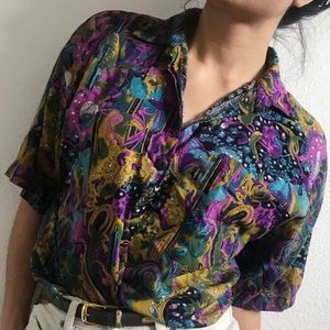 Vintage bright floral button up shirt medium